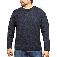 Boutique Retailer Men's Shetland Wool V-Neck Cardigan Sweater Ragg Knitted Jumper Pullover (XXX-Large, Denim)