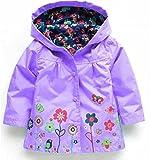 Honey baby 女の子 ガールズ キッズコート 子供 ジャケット ジュニア ウインド ブレーカートレンチ コート 子供 アウター レイン コート 防寒着 カラフルアウター フード 付き (100cm, パープル)