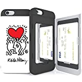 iPhone6S ケース 《SKINU》 キースへリング・KEITH HARING・カード収納可能・衝撃吸収抜群・傷防止・ミラー付き・スタンド機能・ICカード/クレジットカード完璧収納 (Holding a Heart)