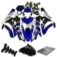 9FastMoto yamaha ヤマハ 2006 2007 YZF-600 R6 06 07 YZF 600 R6 用フェアリング オートバイフェアリングキット ABS 射出成形セット スポーツバイク カウル パネル (ブルー & ブラック) Y0696
