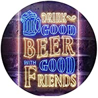 Drink Good Beer with Good Friends Bar Dual Color LED看板 ネオンプレート サイン 標識 Blue & Yellow 8 x 12 Inches st6s23-i3416-by