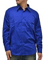 (マルカワジーンズパワージーンズバリュー) Marukawa JEANS POWER JEANS VALUE 大きいサイズ メンズ シャツ 長袖 無地 4color