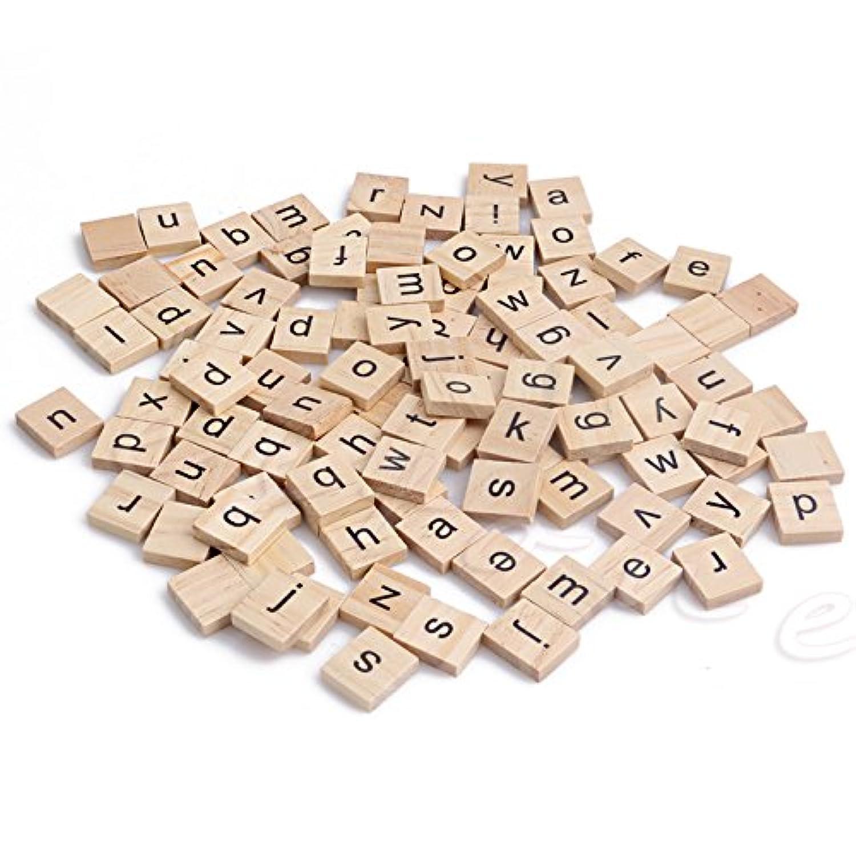 Kofan 木製のスクエアアルファベットの手紙スクラブルのタイル黒の手紙の手工芸木100個の作品