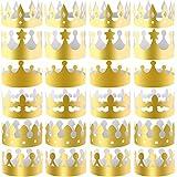 SIQUK 30ピース ペーパークラウン ゴールドパーティークラウン ペーパーキングハット パーティーや誕生日のお祝いに