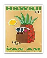 ジェットによってハワイ - 氏パイナップルヘッド - パンアメリカン航空 - ビンテージなハワイの旅行のポスター によって作成された フィリップス - アートポスター - 41cm x 51cm