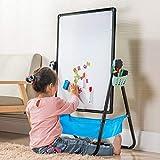 Arkmiido お絵かきボード 子供 ホワイトボード 黒板 お絵かき 落書きボード せんせい おもちゃ イーゼル 大画面 両面 看板 折りたたみ 高さ調節可能 収納可能 数学、絵画、スケッチ、落書きをサポート (黒)