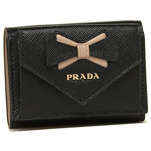 [プラダ]折財布 レディース PRADA 1MH021 2B7S F0G28 ブラック ピンク [並行輸入品]