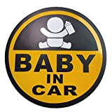 BABY IN CAR 赤ちゃん 乗車中 ( 12cm マグネット ステッカー イエロー )