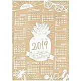 ハワイアン雑貨 2019年 カレンダー 壁掛け 麻 ジュート ポスター (ビーチ) パイナップル ヤシ ハワイ 土産