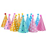 12PCS Party Hats, Lovely Paper Cone Birthday Party Hats for Children and Adults, Fun Birthday Jamboree Party Hats