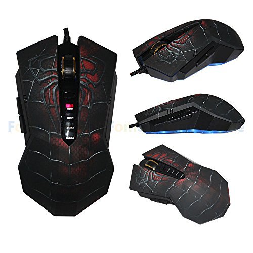 USB Wired Gaming Mouse, FOME Spider King X6-M USB Wired Professional Gaming Mouse 6 Buttons 4 Speed Transmission 800DPI/1600DPI/2400DPI/3200DPI 4 color Breathing Light Ultrasensitive Mouse for Laptop PC Support Windows XP/7/8/8.1/10 Black + FOME Gift by FOME [並行輸入品]