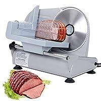 F2C 7.5インチ 電動フード肉スライサー ベーコンブレッドフルーツ野菜 肉 デリハム 食べ物 チーズスライサー ステンレススチール製鋸歯状ブレード 150W食品ミートシュレッダーカッター スライサー ホーム業務用キッチン