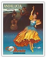 アンダルシア、スペイン - その呪文の下でお楽しみください - スペインのイベリア航空 - ビンテージな航空会社のポスター 1959 - アートポスター - 41cm x 51cm