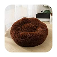 犬のペット製品の犬小屋の円形の犬小屋の円形の寝台の多彩な猫のソファー小さい大きい中型犬の猫のためのマットのバスケットのソファ。-コーヒー-OD 40 60CMドッグパッド