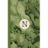 Monogram N Marble Notebook (Leafy Green Edition): Blank Lined Marble Journal for Names Starting with Initial Letter N