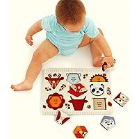 chusea Interesting Kids Toy Lovely木製Preschool幾何図形パズルボードforキッズ教育パズル