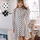 授乳・マタニティウェア可愛らしく女の子らしいドットシャツワンピース SOD5126 FREE(フリー) BLACK(ブラック)