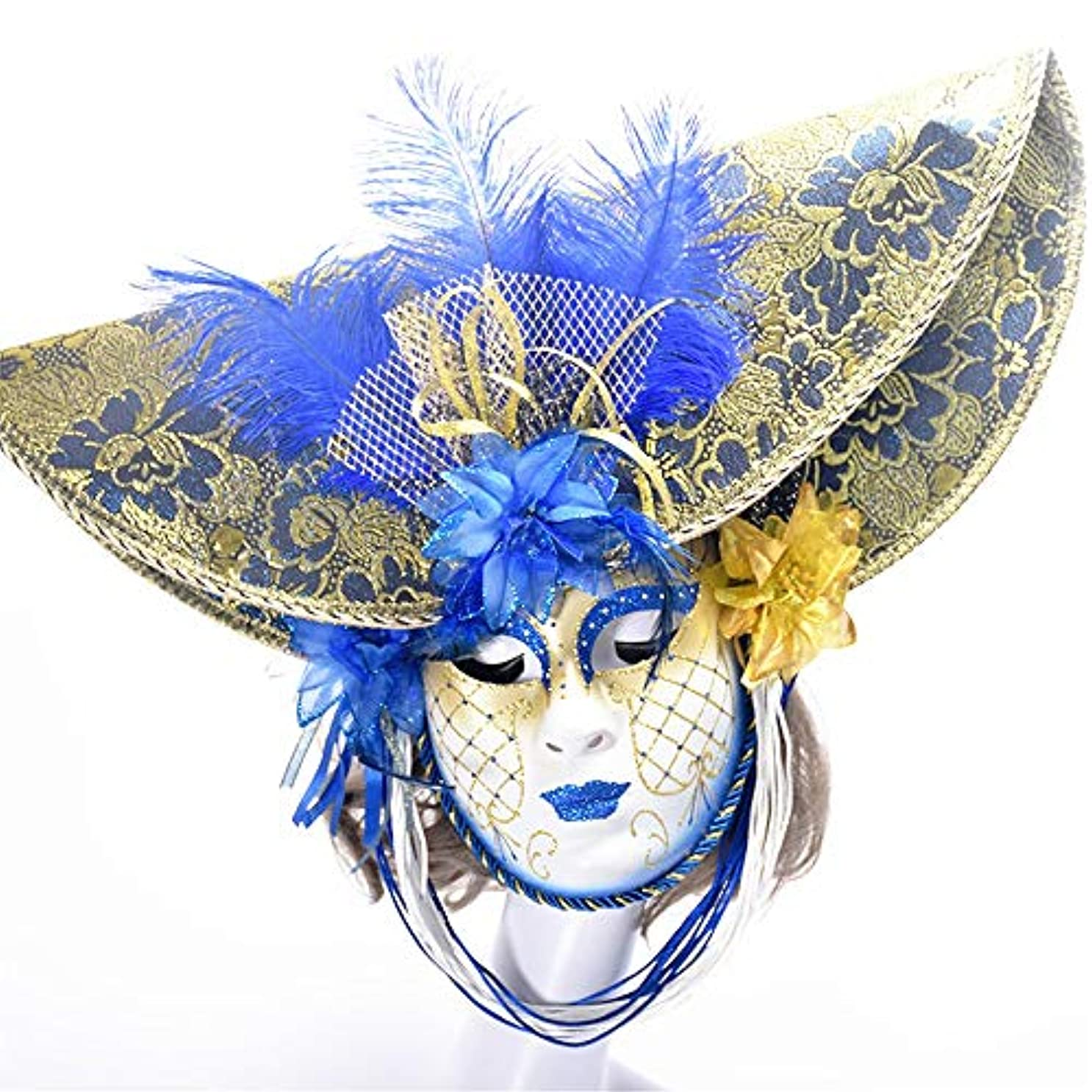 各く逃すダンスマスク 手描きフルフェイスマスク大人仮装パーティーブルーフェイスナイトクラブパーティーフェスティバルロールプレイングプラスチックマスク パーティーボールマスク (色 : 青, サイズ : 55x35cm)