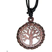 Exoticdream Tree of Life Brown Wood Pendant Necklace Handmade Hawaiian Style Beach Boy Men Yoga