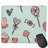 キャンディかわいいチョコレート生地心愛バレンタインデーミントピンクマウスパッド滑り止めカスタムコンピュータ用ラップトップ家庭やオフィス9.8 x 11.8インチ