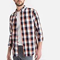 La Redoute Collections Mens Checked Straight Cotton Shirt