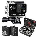 MUSON(ムソン) [メーカー直販/1年保証付] アクションカメラ 1080PフルHD高画質 30m防水 スポーツカメラ Wi-Fi搭載 ウェアラブルカメラ 防犯カメラ ドライブレコーダーとしても利用可能 MC1 ブラック