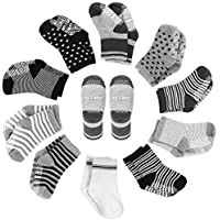 YOHOOLYO Baby Socks 10 Pairs Assorted Non Skid Cotton Socks 16-36 Months Walker Boys Girls Toddler Anti Slip Stretch Knit Stripes Star Sneakers Crew Socks