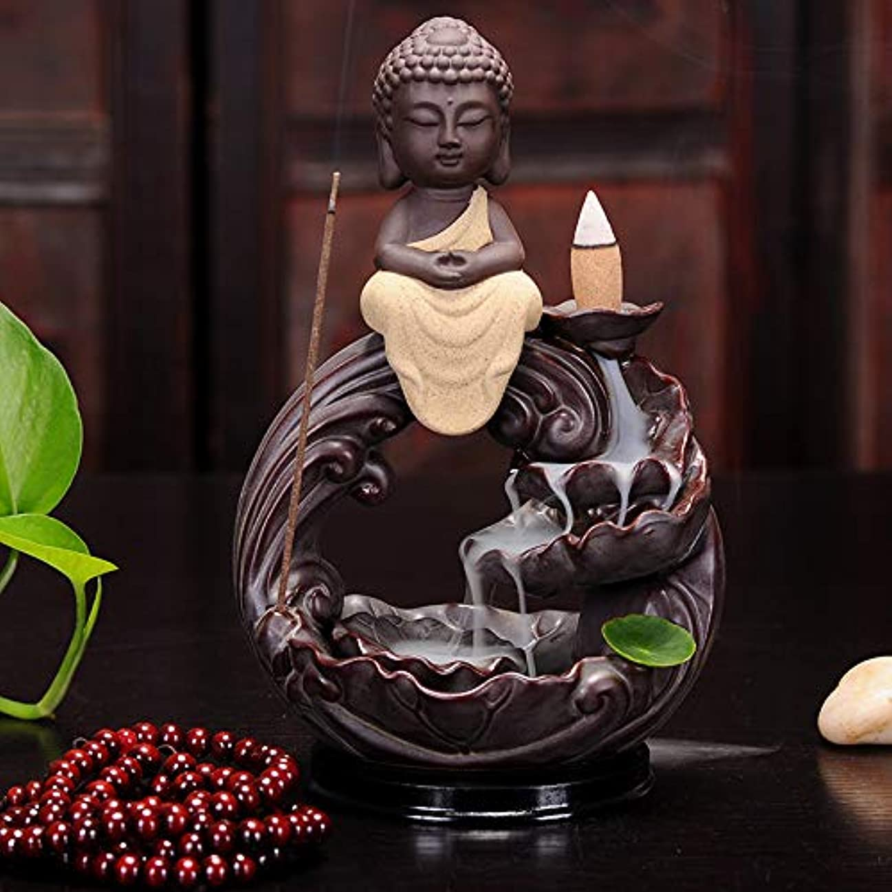 逮捕蒸し器自明PHILOGOD 香炉 仏壇陶器クリエイティブスタイリング逆流香炉 香皿 お香 ホルダー (Buddha)