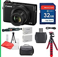 Canon PowerShot G7X with 32GB SDHC SD Memory Card Class 10, Cleaning Pen, Camera Case, Flexible Tripod Deluxe Package - International Version (No Warranty) by AmericaCameras
