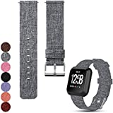 Feskio Accessory Replacement Adjustable Canvas Wrist Watch Strap Wristband for Fitbit Versa Fitness Smart Watch