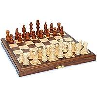 Wood Folding Chess Set with Beveled Edges - 11.5 inch Walnut Board [並行輸入品]