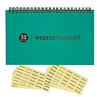 空白Weekly Calendar Planner–for Home & Office–UndatedワイヤバインドデスクパッドPlanner–52週間–Tealブルー–Includesクリアアラームステッカー–8x 5インチ