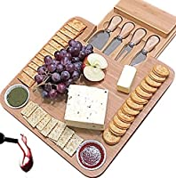(W/ Round Shape Bowls) - Unique gifts for Mom, Mothers, Holiday, Men Housewarming, Wedding, Birthday, Bamboo Cheese Board w/Cutlery Set, Wooden Charcuterie Platter & Meat Server, 4 Stainless Steel Knife, 2 Bowl, Drawer