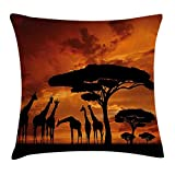 Wildlife Decor Throw Pillow Cushion Cover, Safari with Giraffe Crew with Majestic Tree at Sunrise in Kenya, Decorative Square Accent Pillow Case, 18X18 Inches, Burnt Orange Black