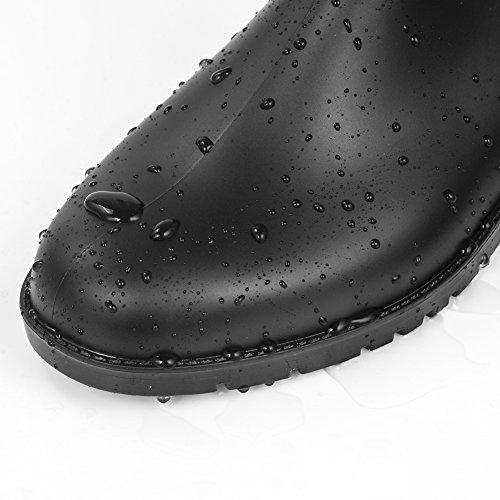 Shevaluesレディース&メンズ レインシューズ オシャレ シンプル 無地 サイドゴアレインブーツ 梅雨 (23.0cm, ブラック)