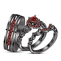 tvs-jewels Brilliant Cut Gemstoneブラックロジウムメッキ925シルバー結婚記念トリオリングセット