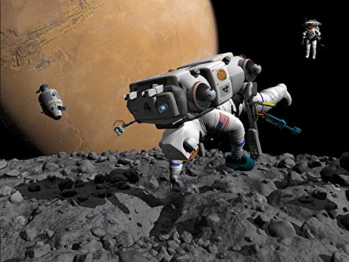 An Astronaut Makes最初Human Contact with Mars Moon Phobosポスタープリント( 32 x 24 )