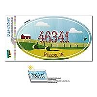 46341 ヘブロン, に - ファーム農村 - 楕円形郵便番号ステッカー