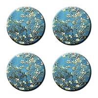 Van Gogh Almond Blossoms Artカスタム新しいファッション4コルクコースターのセットラウンドカップマットPat Mug Can水ボトル