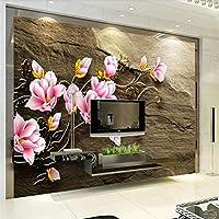 LJJLM 救済マグノリア花つる砂岩テレビ背景壁カスタム大壁画緑壁紙-160X120CM