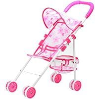 Acefun Children Pink Foldable Doll Stroller Toy for Pretend Play Game