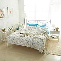 Mystin-jp 寝具カバー3点セット (掛布団カバー + シーツ + ピローケース) 綿100% コットン 肌に優しい ベッド カバーセット カワイイ 花柄四節適用 柔らかい シングル