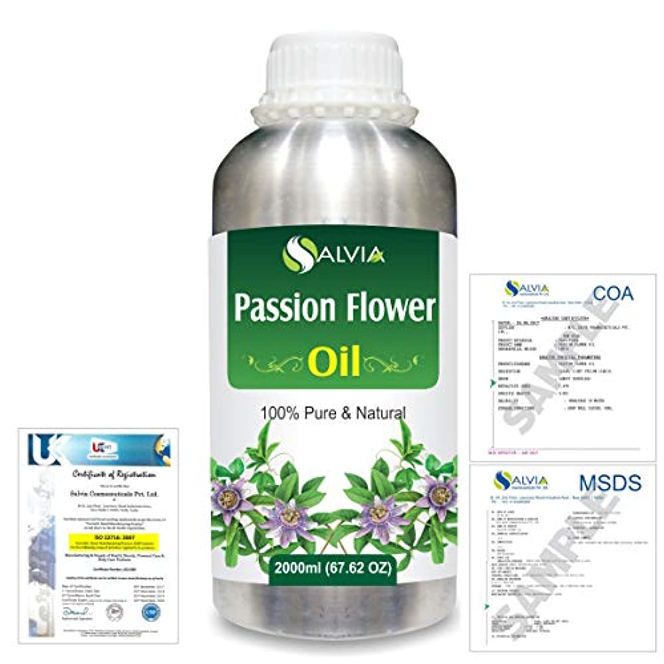 追い越す同意する請うPassion Flower (Passiflora) Natural Pure Undiluted Uncut Carrier Oil 2000ml/67 fl.oz.
