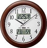 CITIZEN ( シチズン ) 電波 掛け時計 インフォームナビW カレンダー 温度 ・ 湿度 計付き 木 茶 4FY619-006