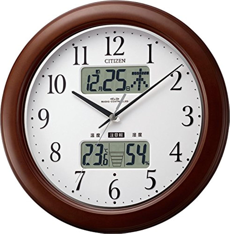 CITIZEN (シチズン) 電波 掛け時計 インフォームナビ W 温湿度計付き 木枠茶色 4FY619-006