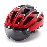 自転車 ヘルメット, VICTGOAL大人男女兼用 で磁気ゴーグルバ 超軽量 高剛性 サイクリング ロードバイク クロスバイク スポーツ 通気 サイズ調整可能 (赤)