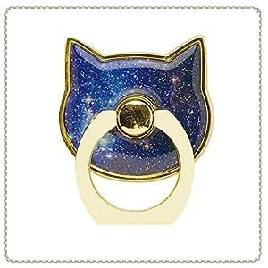 【フラワーリング】FLOWERING SAR-0013-NV 落下防止にもつながるバンカーリング♪猫の中に星いっぱい (ネイビー) [各種スマートフォン用]