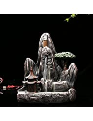 omonic Zen Garden Mountain Stream Backflow手作り樹脂Incense Holder Burner、アロマセラピー炉Diffuser forホームインテリア