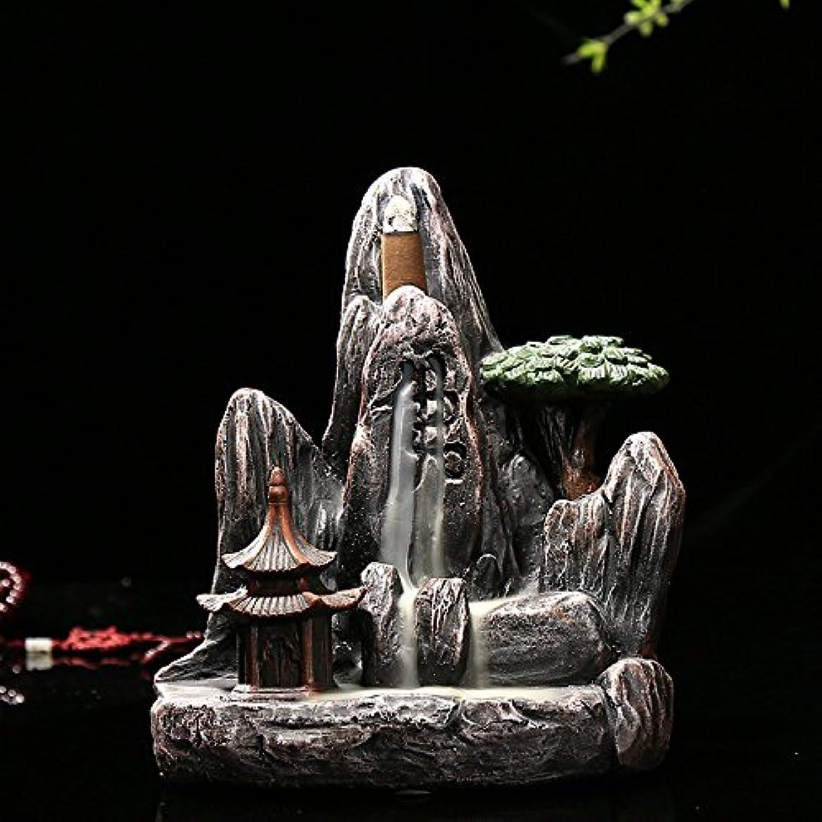 連鎖懲らしめ敵意omonic Zen Garden Mountain Stream Backflow手作り樹脂Incense Holder Burner、アロマセラピー炉Diffuser forホームインテリア