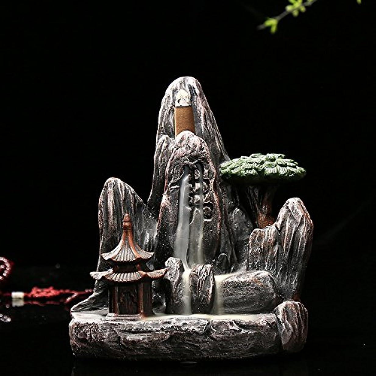薄暗いブラシ三omonic Zen Garden Mountain Stream Backflow手作り樹脂Incense Holder Burner、アロマセラピー炉Diffuser forホームインテリア